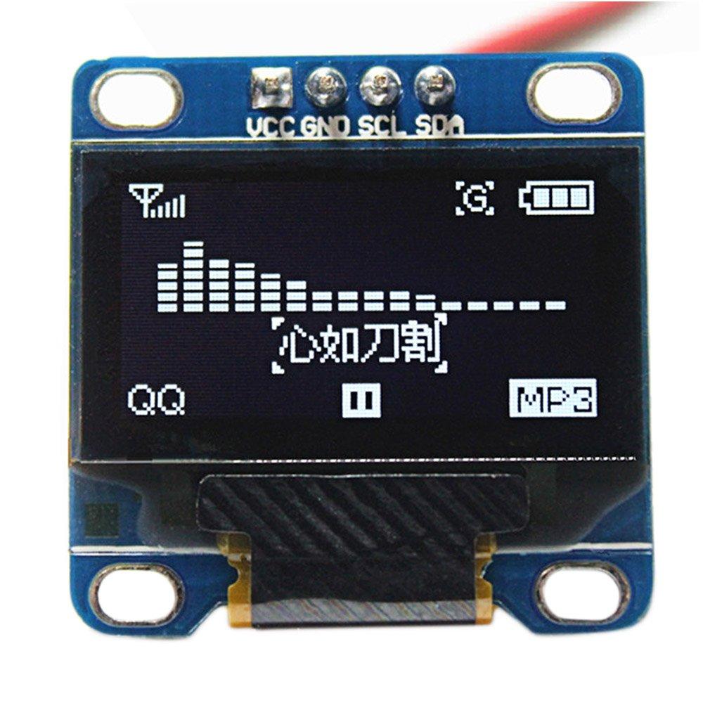 Elisona-0.96 Inch I2C IIC SPI Serial 128 x 64 OLED LCD LED Display Module for Arduino White