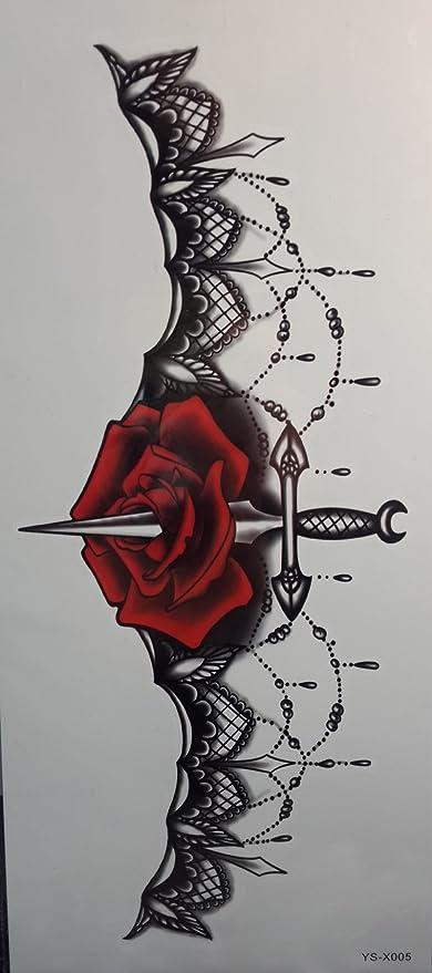 Tattoo stikcers para Ladys chest joyas diseño con flor rosa y ...