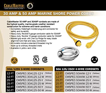 AMP UP 30A 125V x 25/' Marine Shore Power Boat Cord Yellow 30 25 volt foot ft