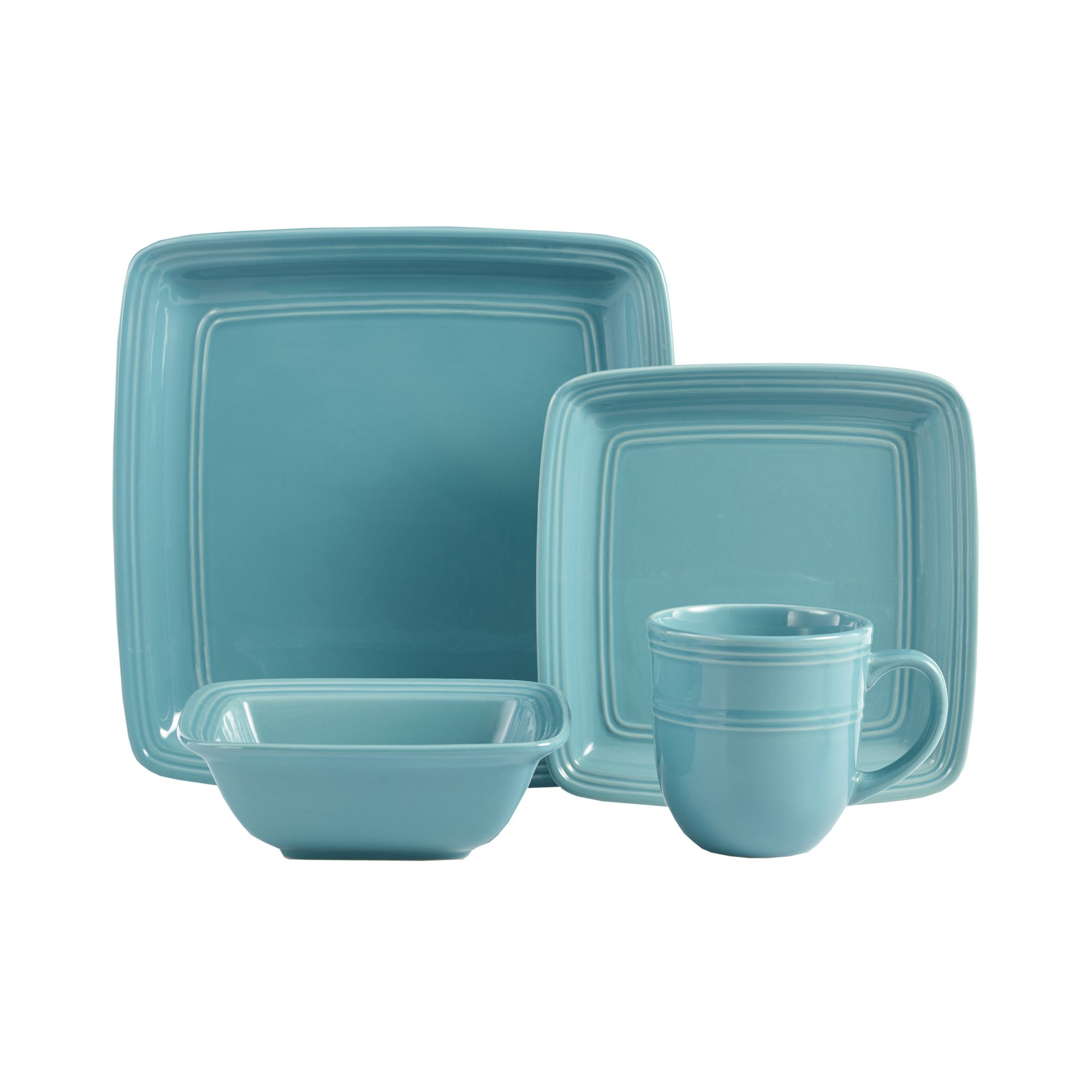 Madelyn Square 16-Piece Dinnerware Set, Turquoise
