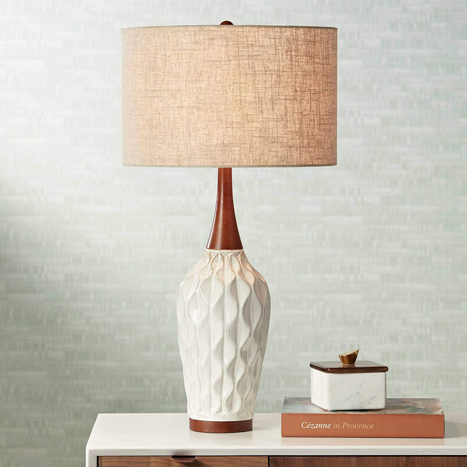 Rocco Mid Century Modern Table Lamp White Geometric Ceramic Wood Tan Fabric Drum Shade For Living Room Family Bedroom 360 Lighting