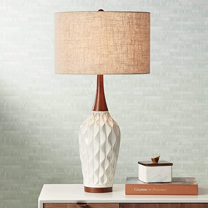 Rocco Mid Century Modern Table Lamp White Geometric Ceramic Wood Tan Fabric Drum Shade For Living Room Family Bedroom 360 Lighting Amazon Com