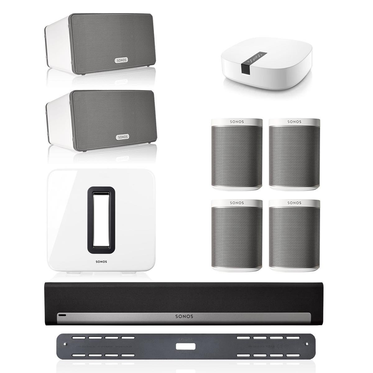 Sonos PLAYBAR Multi-Room Whole House Home Theater System with PLAY:1 Speakers, PLAY:3 Speaker, and SUB Wireless Subwoofer (White) by Sonos