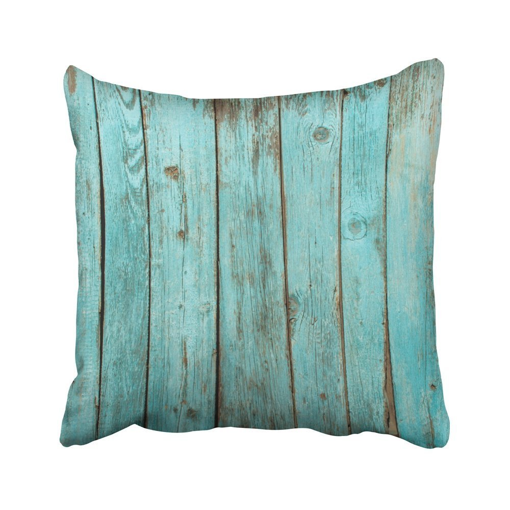 Teal Rustic Country Wood Square Pillow Case Decorative Cushion Cover Pillowcase Cushion Case for Sofa,Bed,Chair 24x24inch,two sides