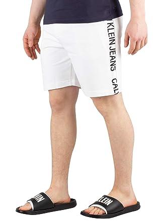 Calvin Klein J30J312250 Pantalones Cortos Hombre Blanco XL: Amazon ...