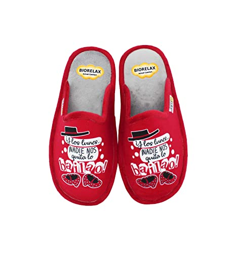 Biorelax by Zapattu - Zapatillas de Casa Mujer Y los Lunes ¡Nadie Nos Quita lo Bailao!: Amazon.es: Zapatos y complementos