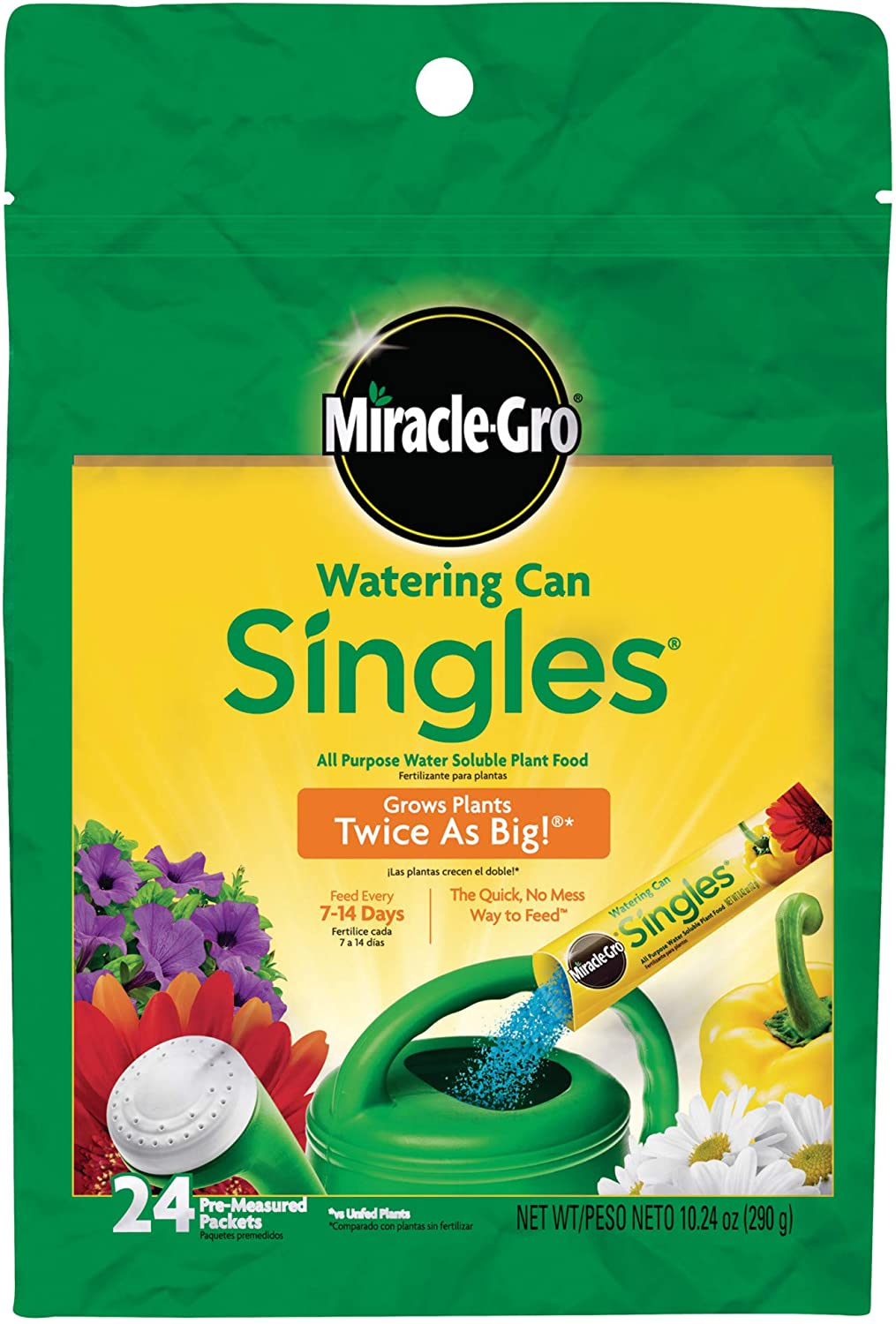Miracle-Gro Watering Can Singles All Purpose Water Soluble Plant Food, Includes 24 Pre-Measured Packets : Fertilizers : Garden & Outdoor