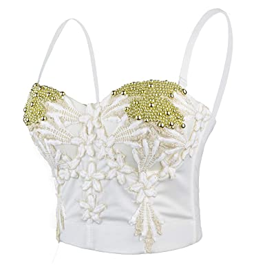 cd94eac396 ELLACCI Women s Pearls Beaded Floral Embroidery Push Up Metallic Bustier  Crop Top Corset Bra White Small