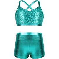 renvena Big Girls' Kids 2-Pieces Active Outfits Sequins Bra Top & Booty Shorts Set for Gymnastics Dancing Performance