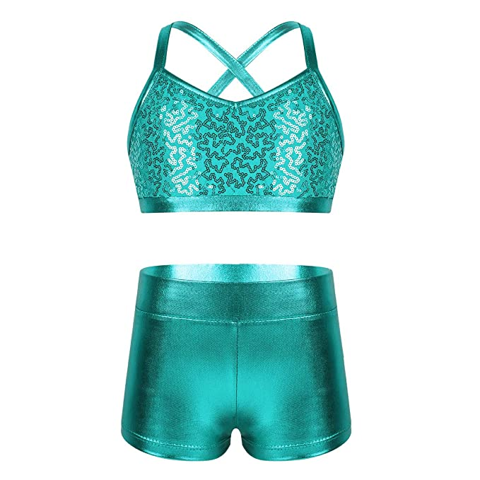 iiniim 2 Piezas Traje de Baño Tankini Sirena Niña Chica Escamas Lentejuelas Brillante Ropa Deportiva de Danza Actuación Bikini Conjunto Camiseta ...