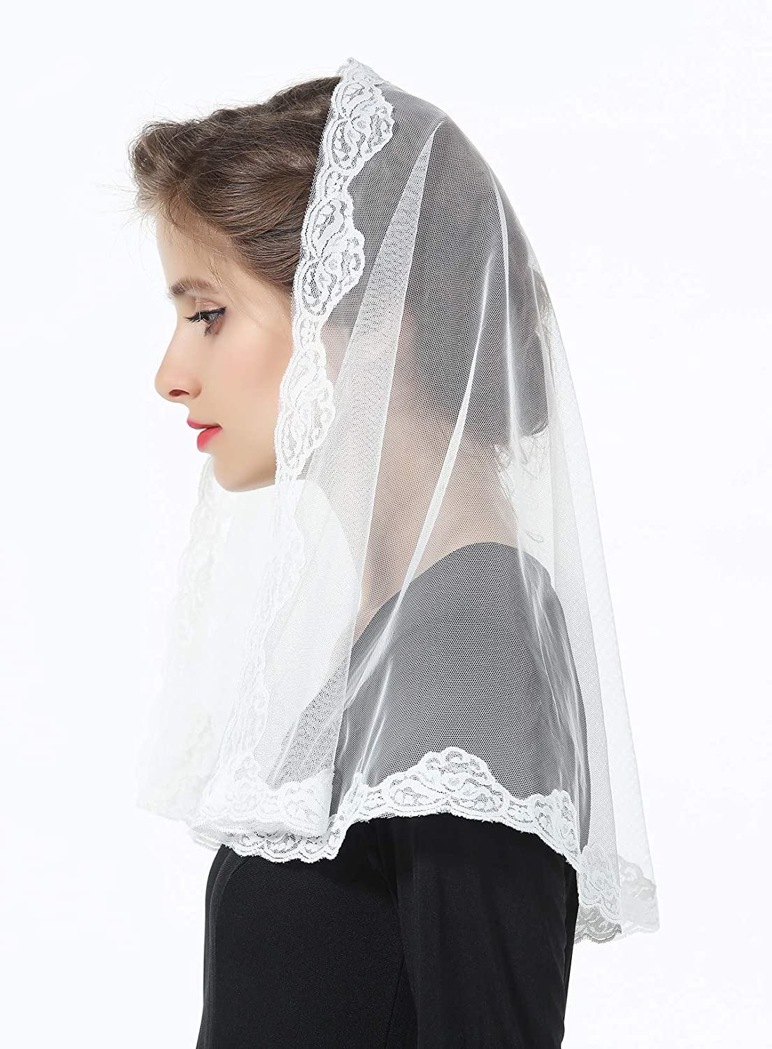 Lace Veil Church Cathedral Catholic Chapel Communion Mantilla Latin Mass Head Cover Easter Off White