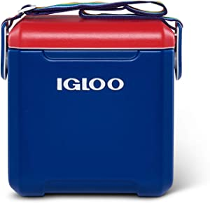 Igloo 11 Quart Portable Leakproof Personal Tailgating Lunchbox Cooler Chest with 2-Day Ice Retention, Blue with Handsfree Rainbow Carrying Strap