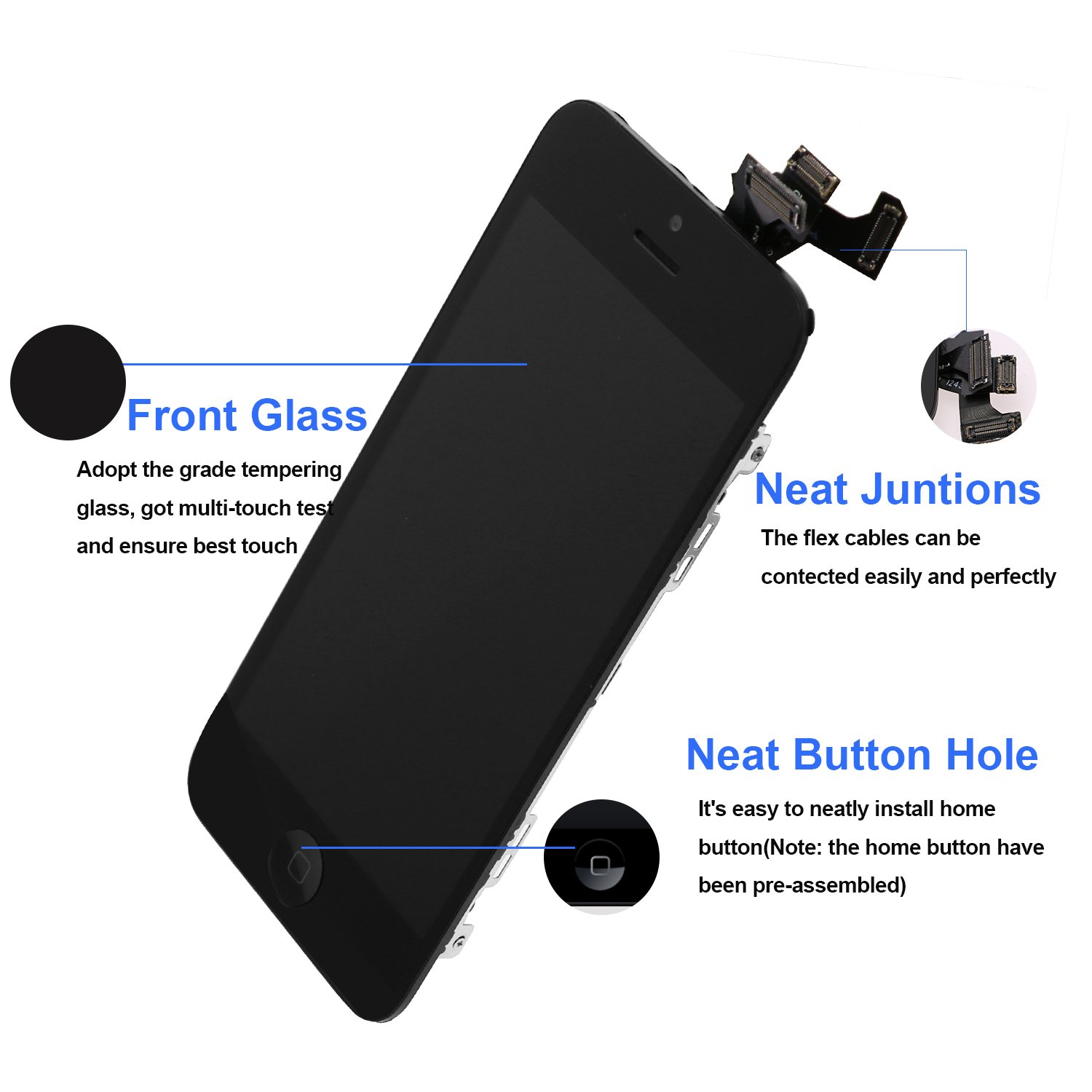 For iPhone 5 Screen Replacement With Home Button, Black- MAFIX Full Pre-assembly LCD Display Digitizer Touch Screen Kit Include Repair Tools & Screen Protector by MAFIX (Image #2)