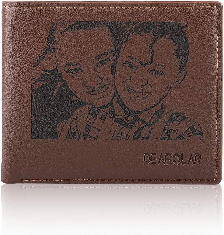 Cartera fotográfica Personalizada Nombre Personalizado Minimalista Grabado Bloqueo Bifold RFID Monedero Navidad Acción de Gracias Regalos para Hombres Padre Hijo