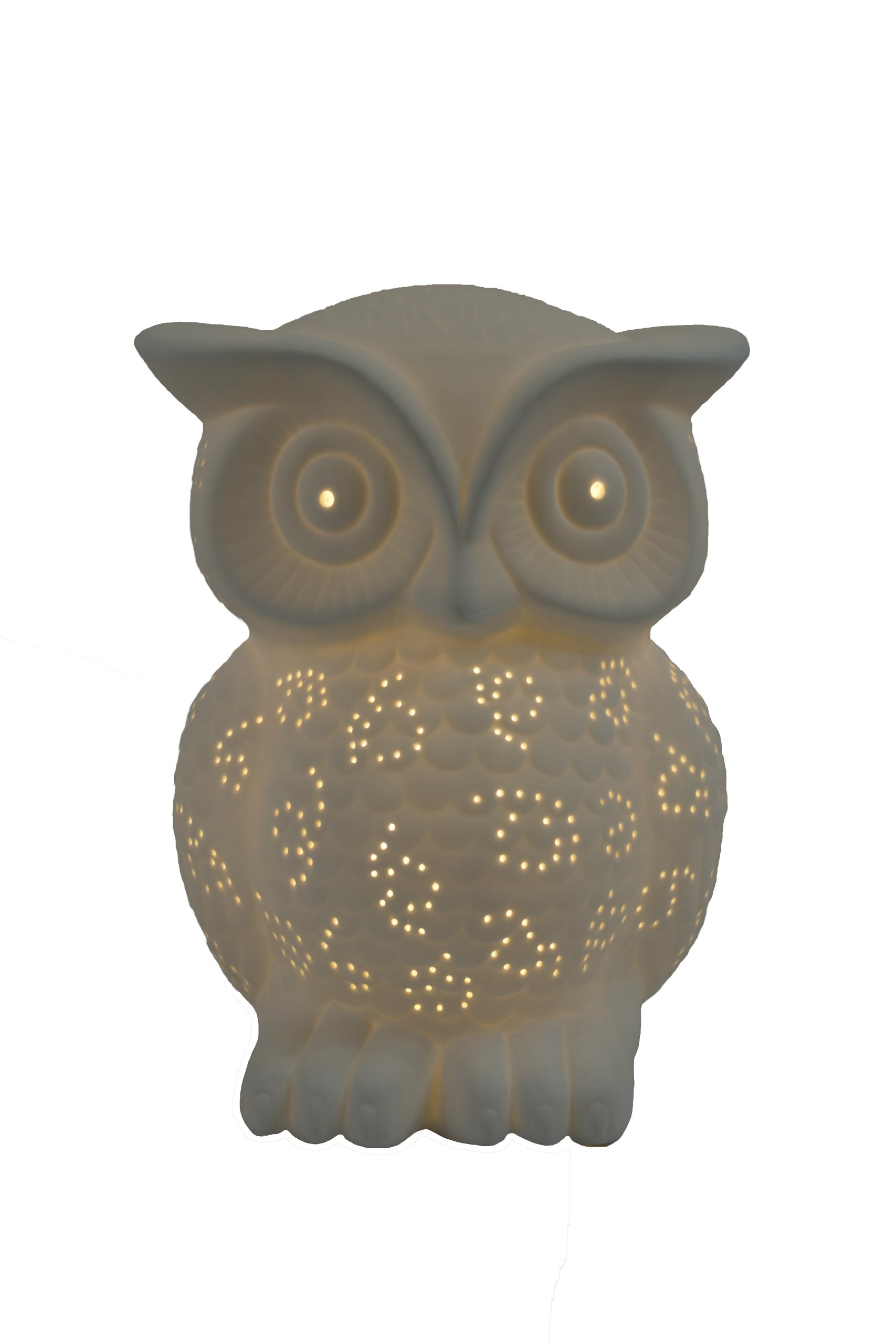Simple Designs LT3027-WHT White Porcelain Animal Shaped Table Lamp, Wise Owl