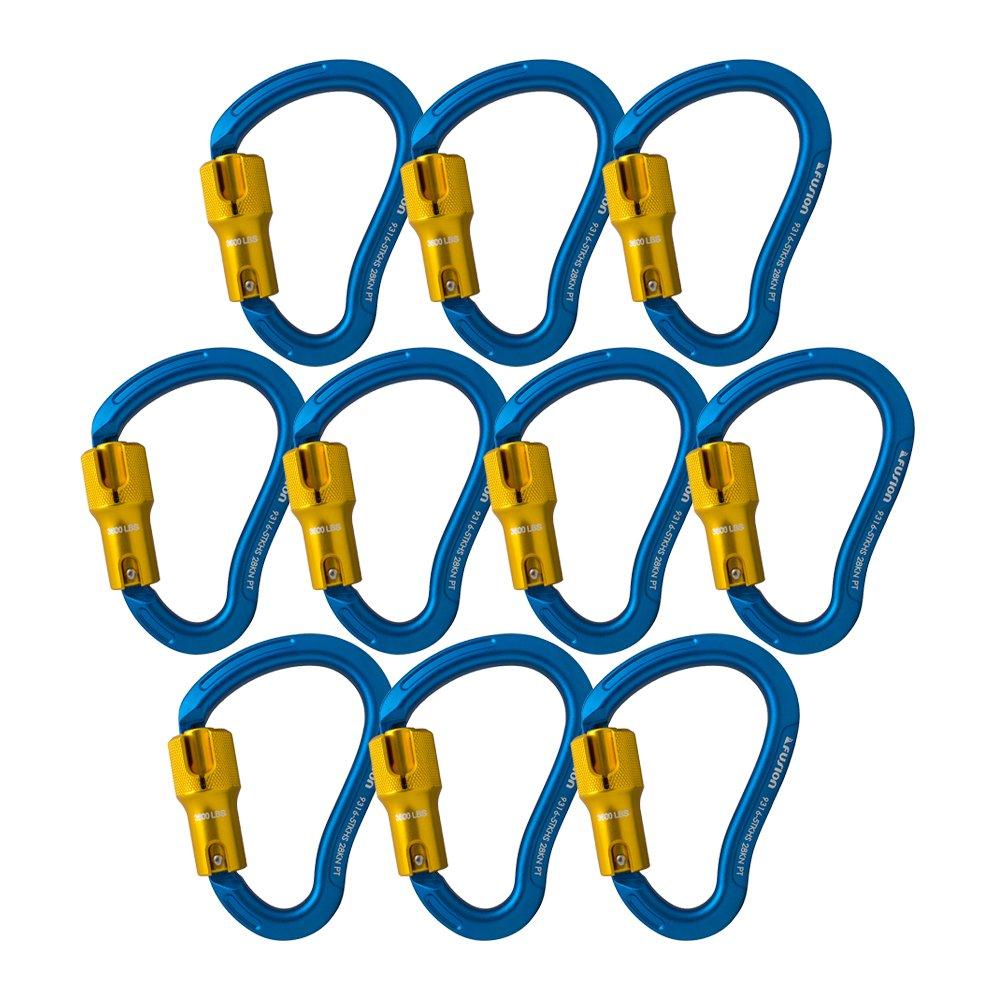 Fusion Climb Techno Groove Triple Lock High Strength Ergonomic Carabiner 10-Pack