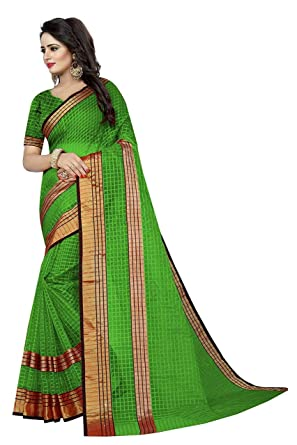 151fdeaaab RADHE CREATION Women's Cotton Silk Saree Golden Border With Blouse Piece ( Green): Amazon.in: Clothing & Accessories