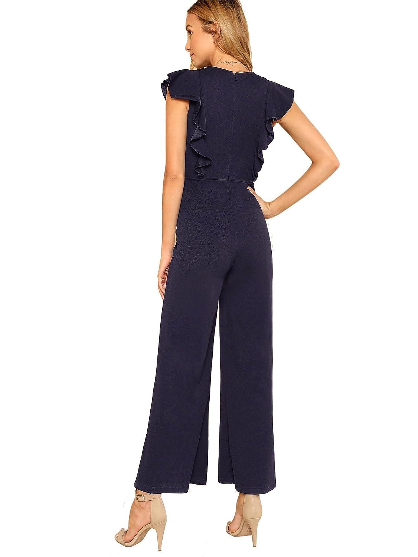 be5479ef8d8e Romwe Women's Sexy Casual Sleeveless Ruffle Trim Wide Leg High Waist Long  Jumpsuit larger image