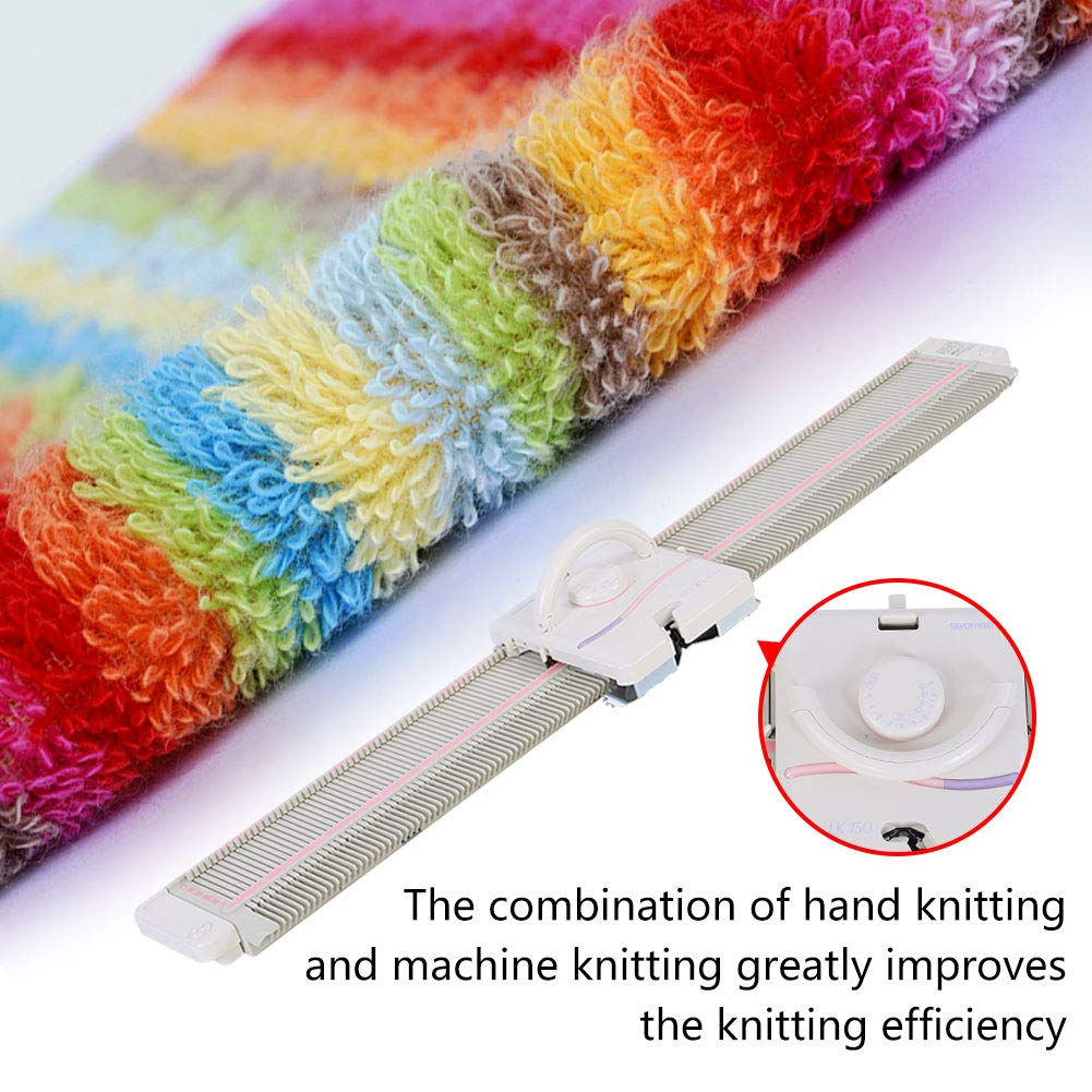 LK150 6.5mm Mid Gauge Plastic Domestic Knitting Machine Includes Yarn Needles Accessories for Adults/Kids