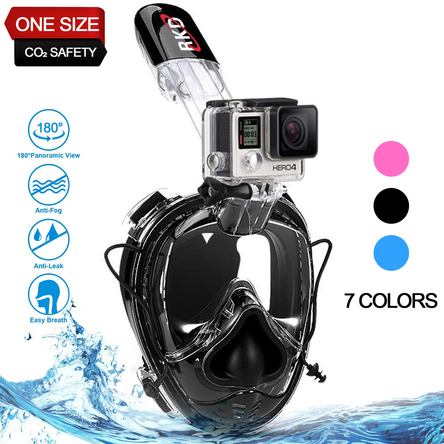 Full Face Snorkel Mask,Snorkeling Mask,180°Panoramic View,Free Breathing Anti-Fog Anti-Leak Full Face Snorkeling Mask with Go-pro Mount,Against CO₂ Build-Up,One Size for Kids and Adults (All Black) by RKD
