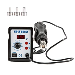 CO-Z 858D Rework Station, LED Display SMD Soldering Rework Station with Hot Air Heat Gun Set, LED Digital Temperature Display Screen Electric Desoldering Welding Iron Kit for Electronics Repairing