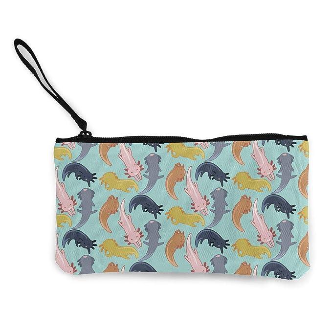 7ffcb2239c3a Canvas Coin Purse Cute Axolotl Change Cash Bag Zipper Small Purse ...