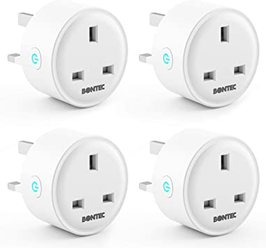 No Hub Required 2 Pack Google Home and IFTTT Wireless Smart Socket Remote Control Timer Plug Switch Bontec Smart Plug WiFi Outlet Mini Plug Works with  Alexa Echo, Echo Dot