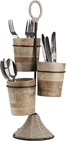 Mind Reader UTENROPE3-BRN Utensil Caddy, Flatware Organizer, Serve ware Holder, Silverware, Cookware, Forks, Spoons, Knives-Brown, One Size