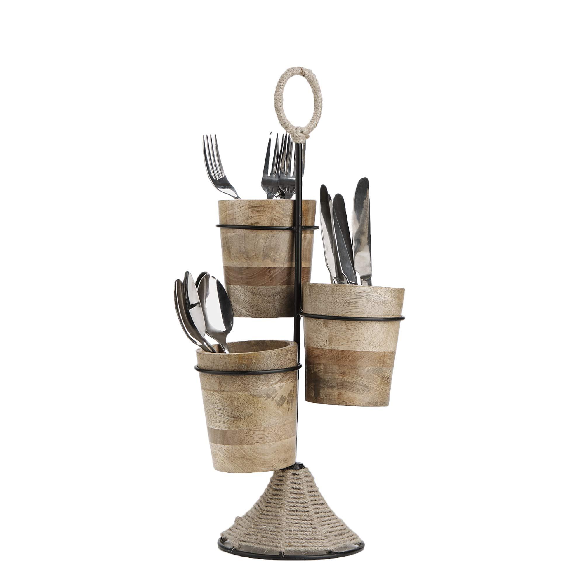 Mind Reader UTENROPE3-BRN Utensil Caddy, Flatware Organizer, Serve ware Holder, Silverware, Cookware, Forks, Spoons, Knives - Brown, One Size,