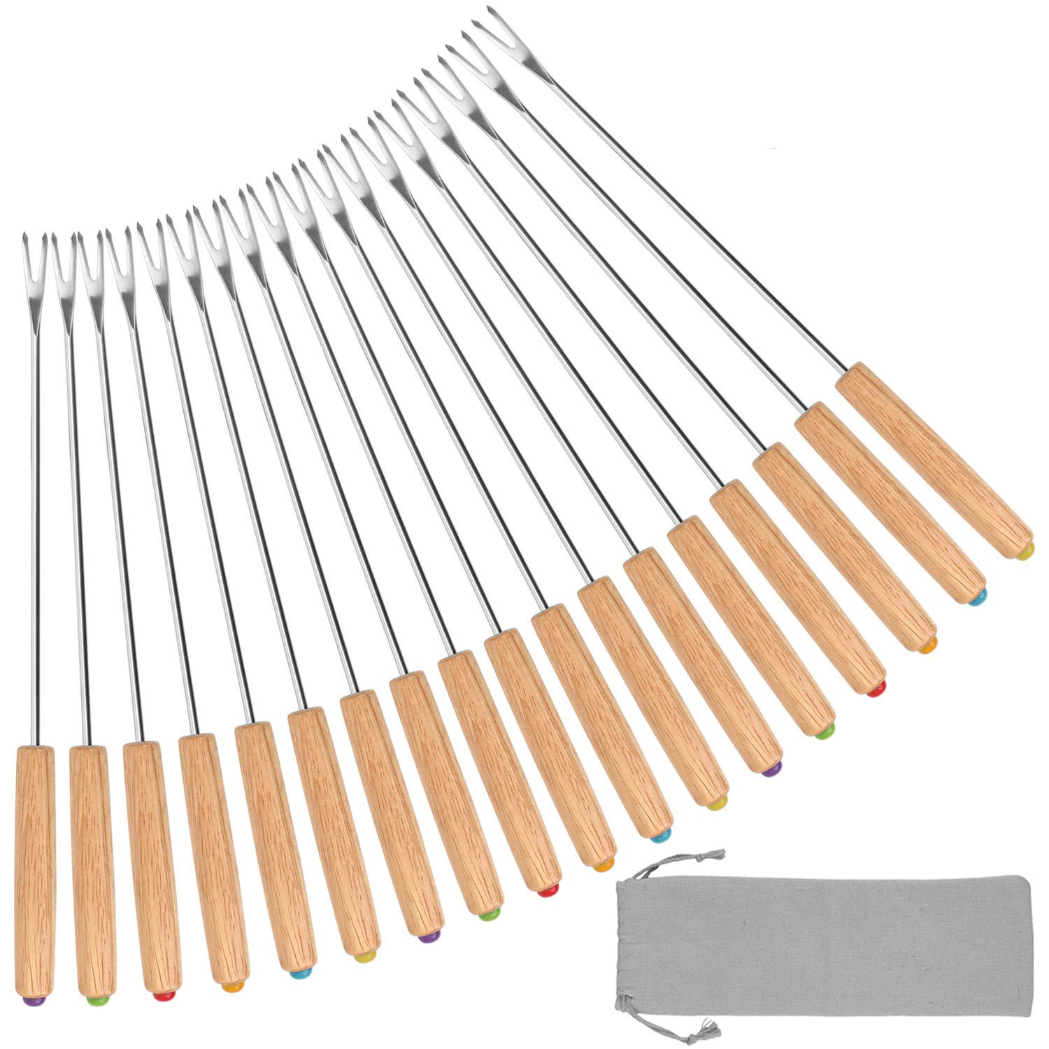 STYDDI Set of 18 Stainless Steel Color Coding Chocolate Fountain Cheese Fondue Forks with Oak Wood Handle Heat Resistant, Skewers Marshmallow Roasting Sticks, 9.5inch