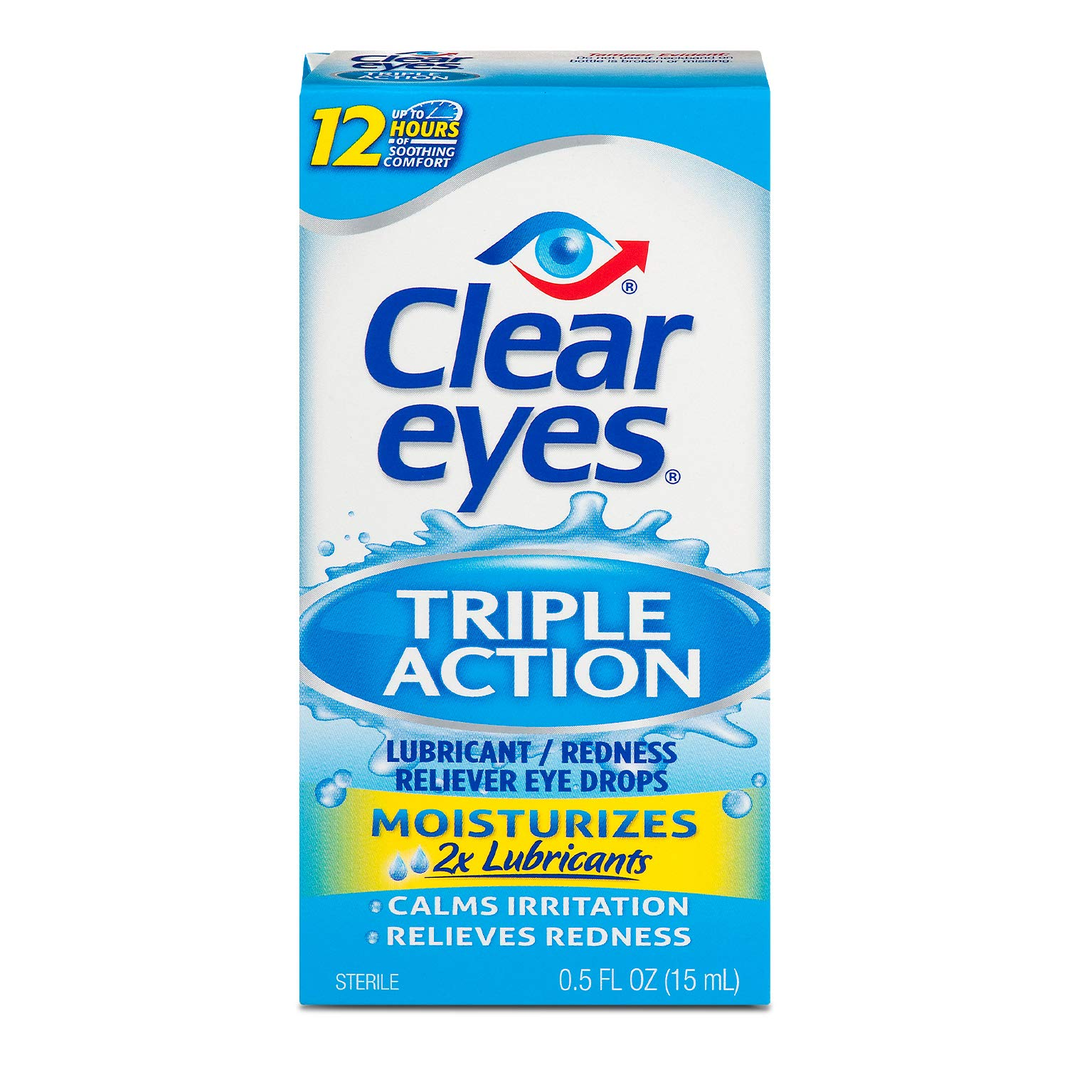 Clear Eyes | Triple Action Lubricant/Redness Relief Eye Drops | 0.5 FL OZ
