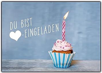 12er Set Einladungskarten Kindergeburtstag Muffin Cupcake Jungen Mädchen  Kinder Geburtstag Lustig Witzig Ausgefallen Girls Teens