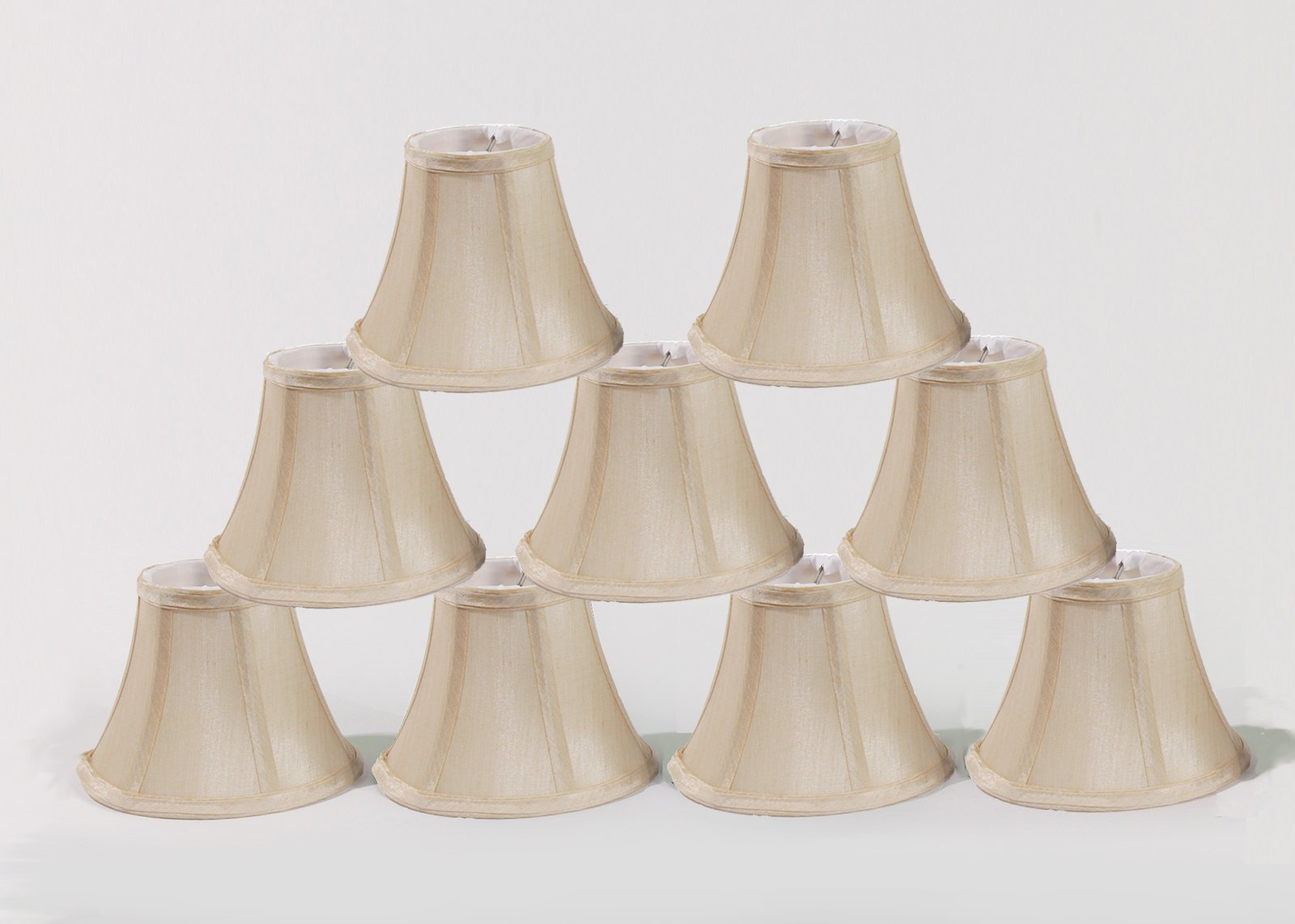 Urbanest Chandelier Lamp Shades, Set of 9, Soft Bell 3''x 6''x 5'' Cream, Clip on by Urbanest (Image #1)