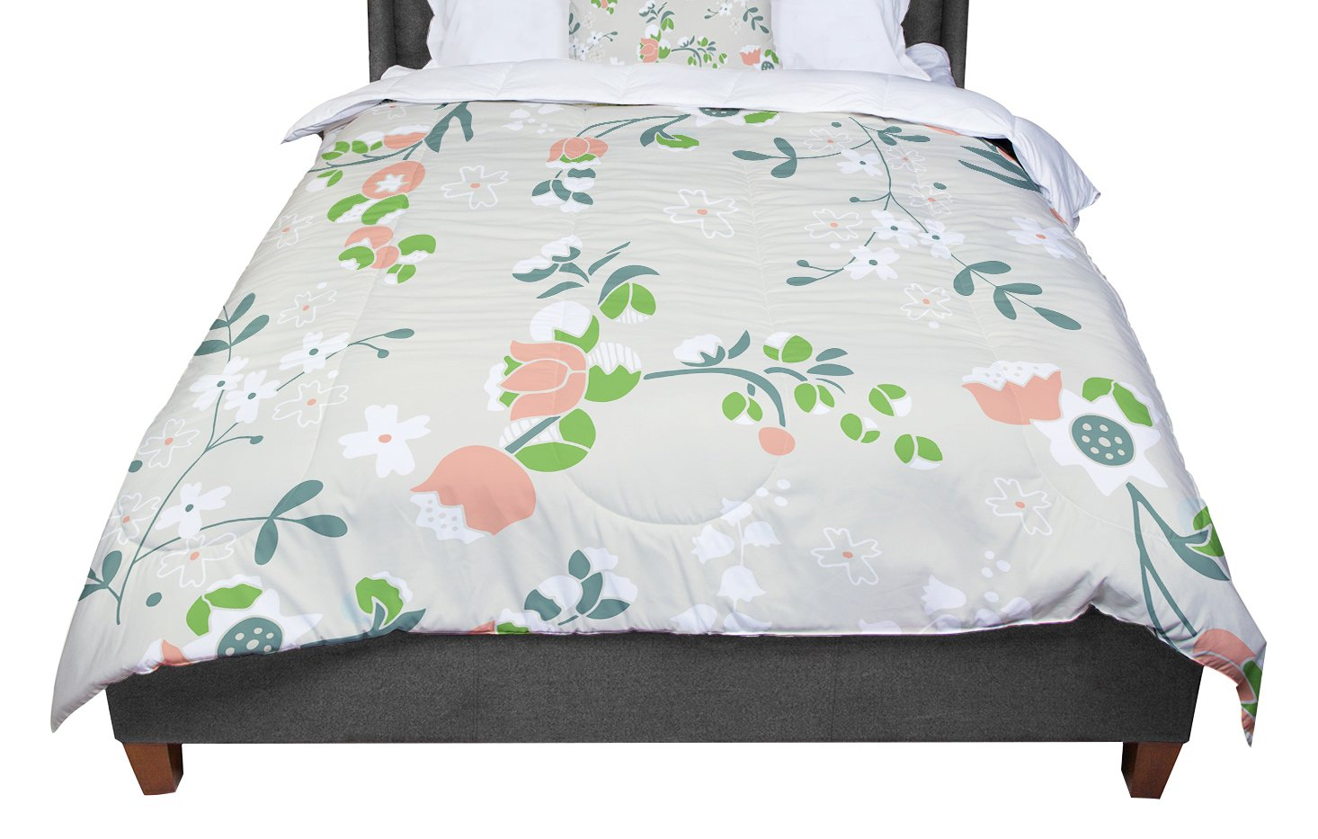 KESS InHouse Very Sarie 'Early Waking' Green Floral Twin Comforter, 68' X 88'