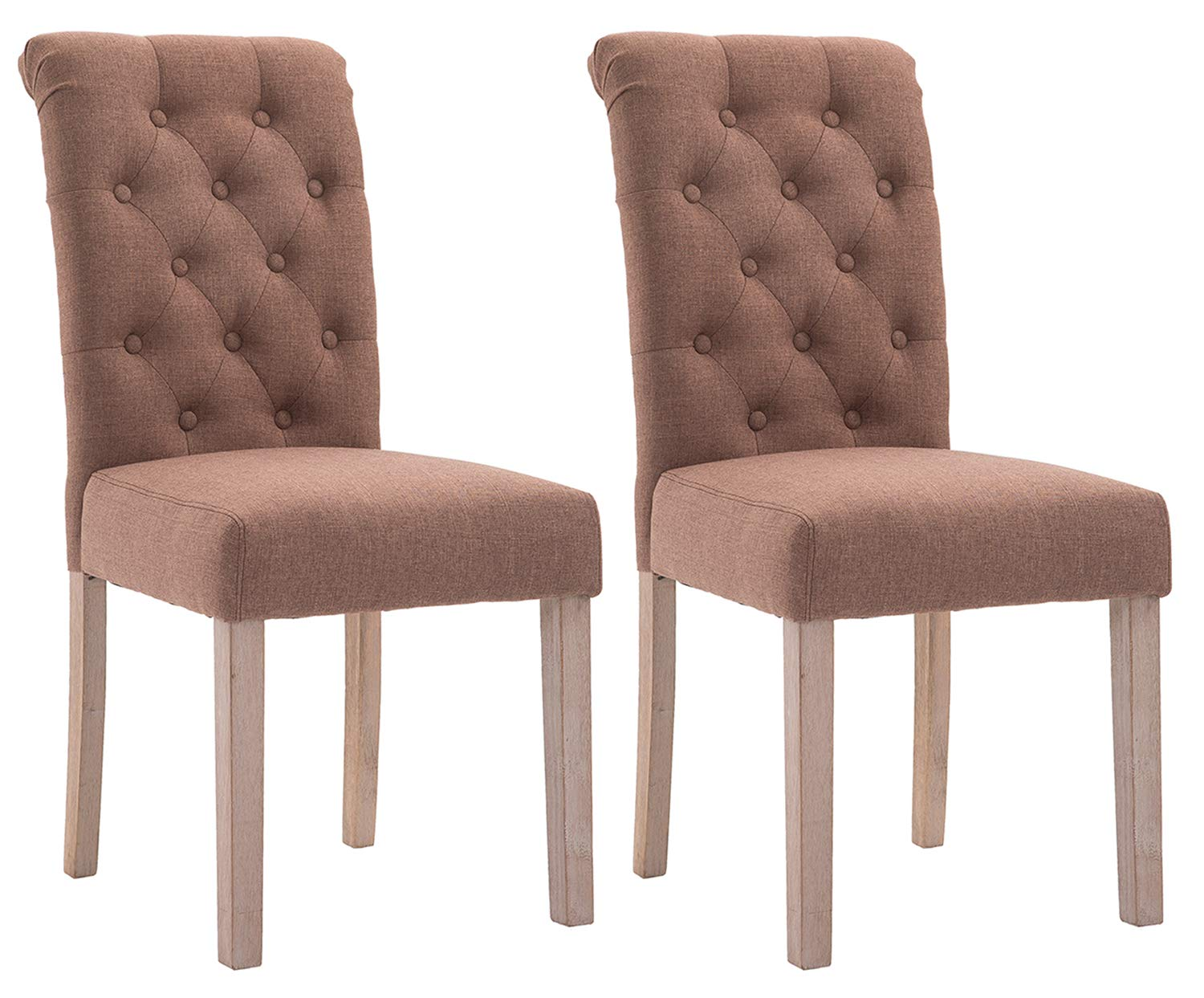 ZXBSWELE Set of 2 Button Tufted Dining Chair with Solid Wood Legs for Dining Room Living Room, Brown