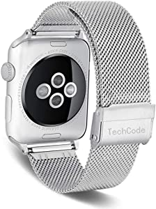 Series 3 Smartwatch Band 38mm, TechCode Stainless Steel Mesh Watch Straps Sport Wristband Loop Replacement with Adjustable Metal Clasp for iWatch Series 1/2/3/4/5Compatible Band 38mm 40mm,Silver