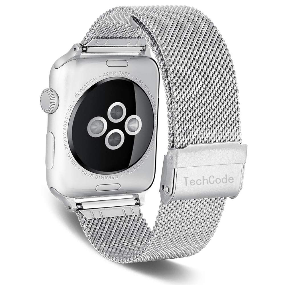 TechCode Smartwatch Band 38mm, Stainless Steel Mesh Watch Straps Sport Wristband Loop Replacement with Adjustable Magnet Clasp for iWatch Series ...