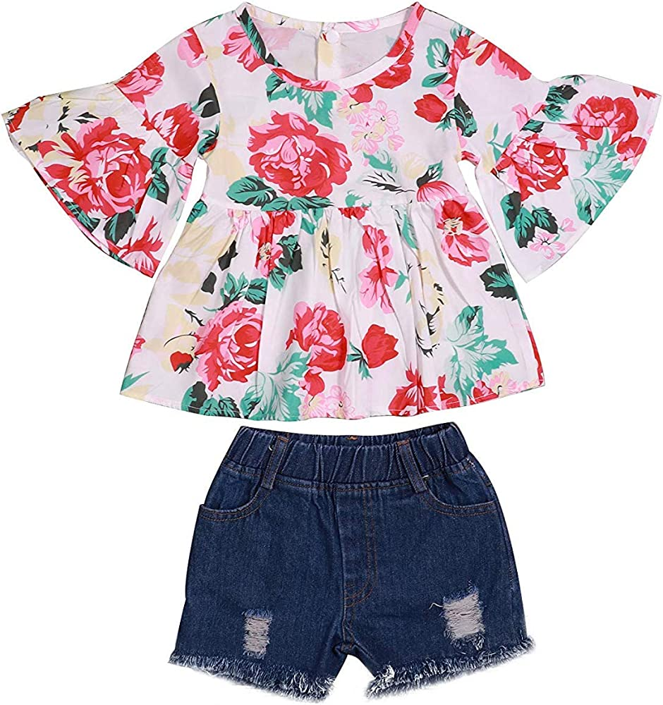 Toddler Baby Kid Girls Infant Floral Soft Tops Cute Flare Sleeve T-Shirt Clothes