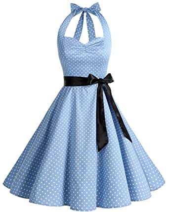 4e010ac1d69 Women s Vintage Halter Polka Dots 1950s Audrey Rockabilly Cocktail Swing  Tea Dresses Blue Small White Dot