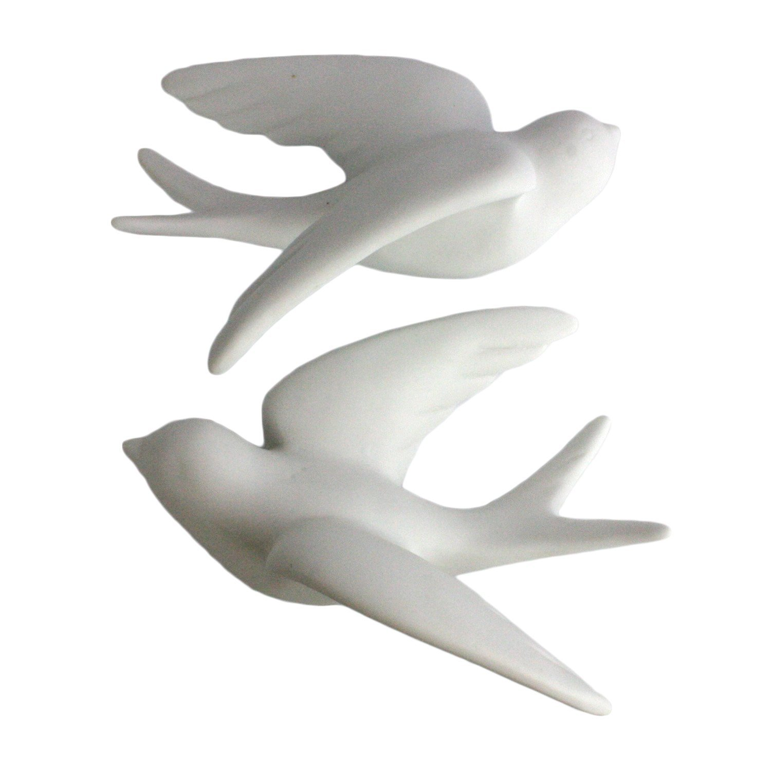 Pair of Wall Mount Ceramic Sparrows - White - Large