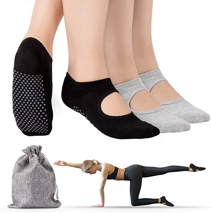 Amazon.com: Tusscle Calcetines de yoga, antideslizantes, con ...