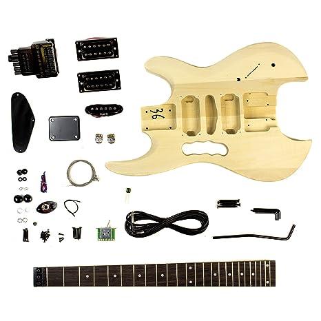 Proyecto kit de la guitarra eléctrica de bricolaje cuerpo decapitado y cortado mango