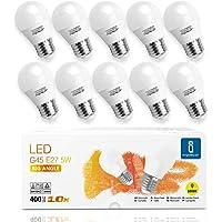 Aigostar -10 x E27 Bombilla LED G45, Casquillo gordo 5W, Bajo consumo, 400lm, Luz calida…