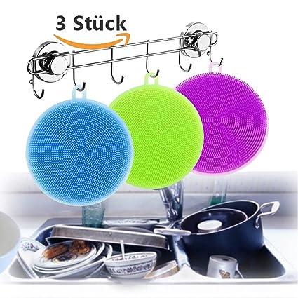 3 x Silicona Suciedad Pincel Depurador Toalla Esponja Scrubber, vanyda Cocina Baño Herramientas Carcasa Lavado