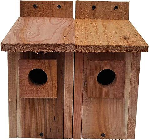 2 Wren Bird House Nesting Box All Natural Rough Sawn Western Red Cedar Made USA
