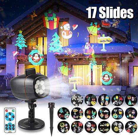 Proyector de luces de Navidad LED, proyector, lámpara con 17 ...