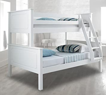 Happy Beds Vancouver Bunk Bed Triple Sleeper White Solid Pine Wood Frame 4 Small Double