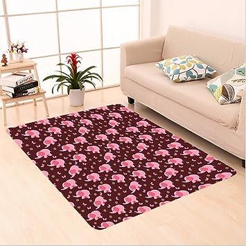 nalahome Custom alfombra Ant Nursery Decor bebé elefantes mariposas flores dulces niñas Burdeos Luz Rosa Amarillo habitación área alfombra para el salón ...
