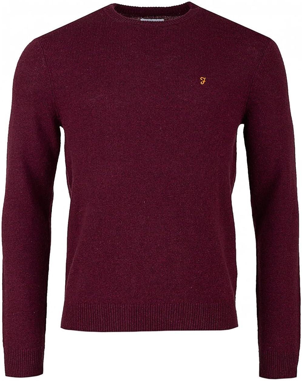 Farah Vintage Mens Rosecroft Logo Knit Red