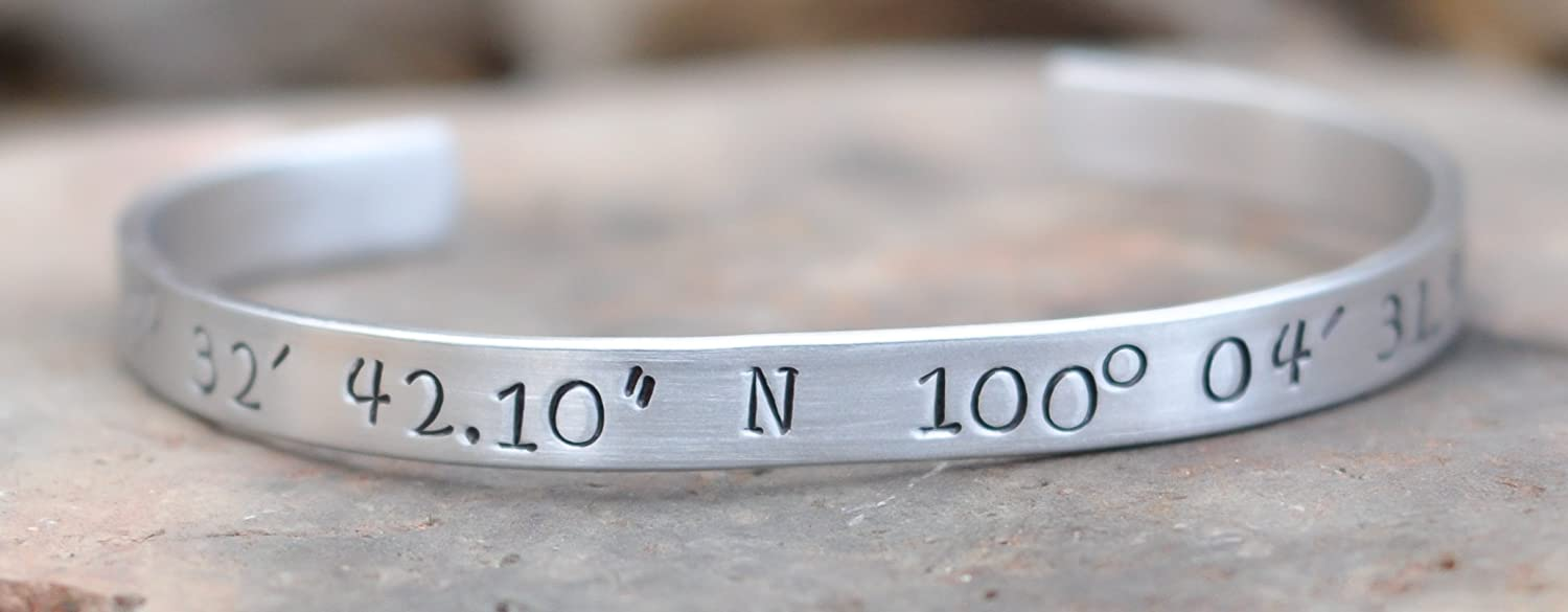 and hand amazon longitude coordinates latitude com handmade personalized stamped cuff bracelet location customized dp